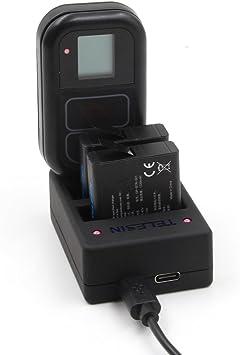 TELESIN Reemplazo batería 2 Pack con cargador multifuncional para ...