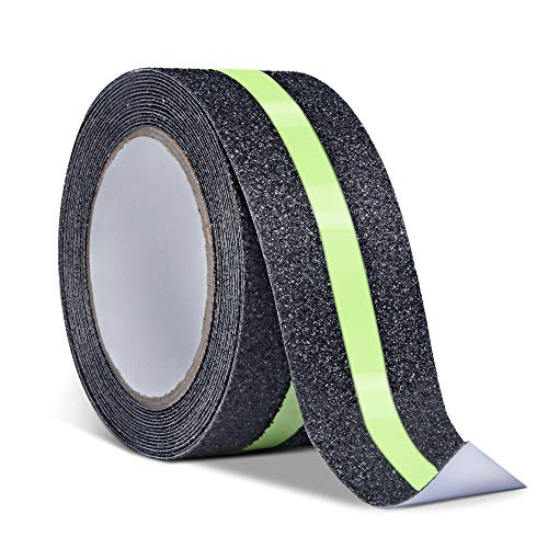 16.4ft X 2'' Non-Slip Grip Tape/Glow-in-Dark - Improves Grip and Prevents Risk of Slippage on Stairs/Anti Slip Adhesive Grip for Stairs and Gaffers (In The Glow Tape 2 Dark)