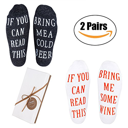 Wine Socks - 2 Pairs Funny Wine Gifts for Men with Funny Sayings IF YOU CAN READ THIS,Best Novelty Gifts for Wine Lover,Father or Husband,Perfect Valentines Day,Birthday,Anniversary Gifts Idea by Nymph Code