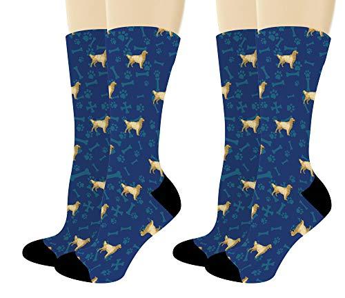 - Cute Dog Socks Golden Retriever Dog Gifts Golden Retriever Mom Dad Gifts 2-Pair Novelty Crew Socks