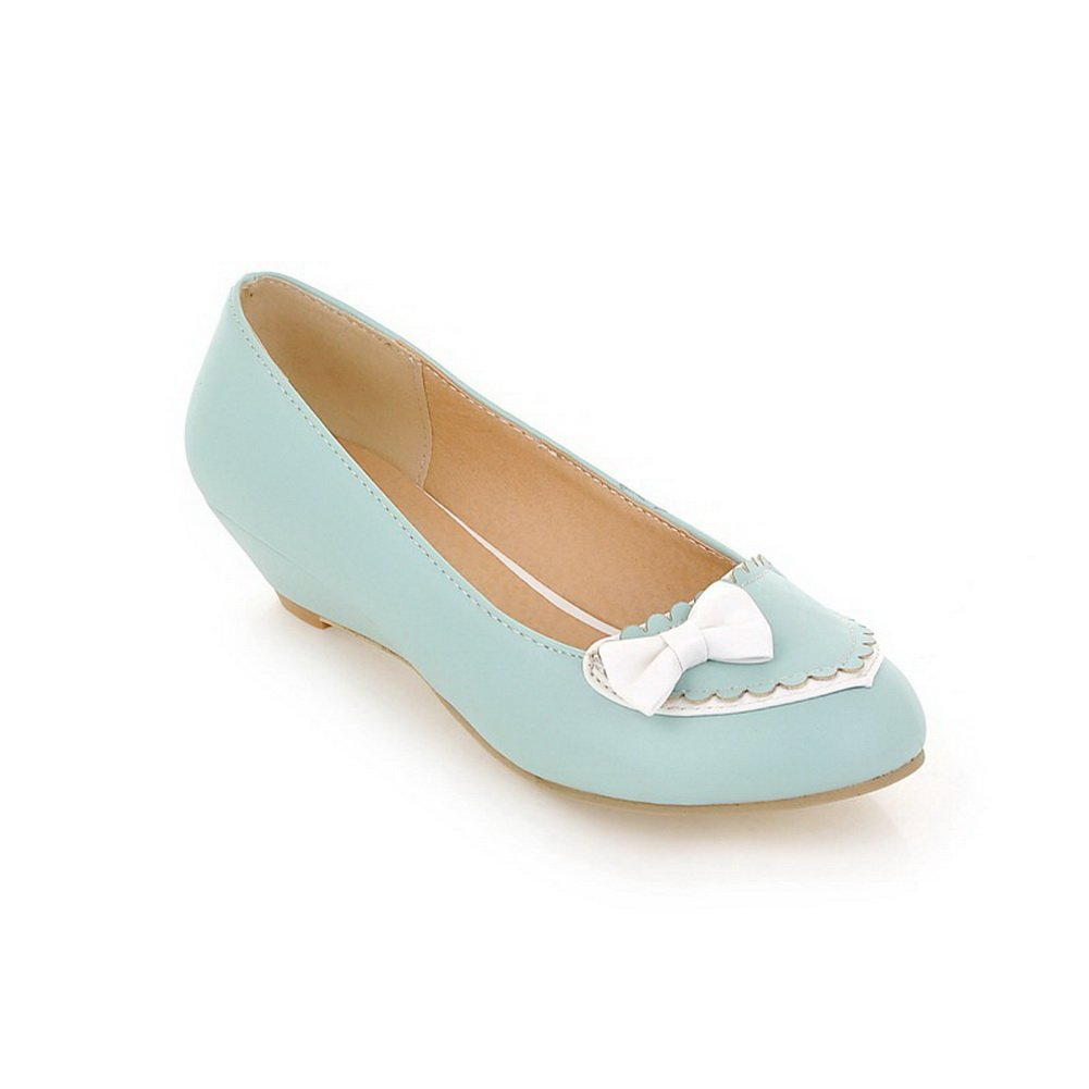 BalaMasa Ladies Wedges Low-Cut Uppers Assorted?Color Blue Urethane Flats-Shoes - 9.5 B(M) US