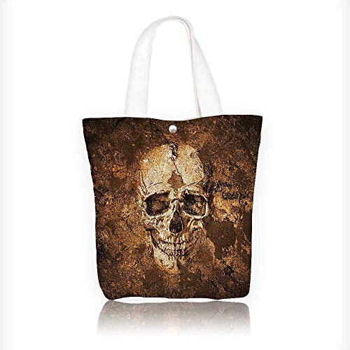 Stylish Canvas Zippered Tote Bag the Soil Dead Mans Look Horror Scary Theme Shopping Travel Tote Bag W16.5xH14xD7 INCH - Black Wet Look Bean Bag