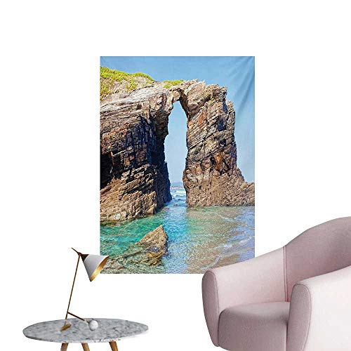 Anzhutwelve Beach Wallpaper Old Rocky Stone Arches on Spanish Seacoast Summer Nature Scenery Mediterranean PrintBlue Cream W32 xL48 Poster Paper