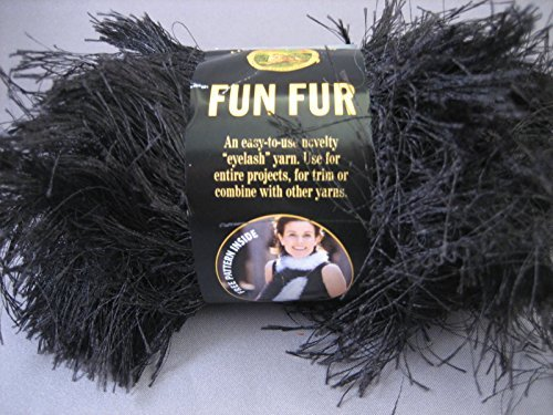Black Lion Brand Fun Fur 64 Yards 100% Polyester Eyelash Yarn - Black