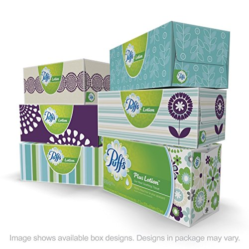 Puffs Plus Lotion Facial Tissues Family Boxes, 12-Count 124 tissues per Box