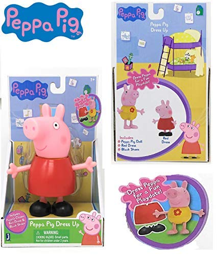 Jazwares - Peppa Pig Dress UP - Dress Peppa for a Fun Playdate! Includes Peppa's Classic Red Dress & Black Shoes