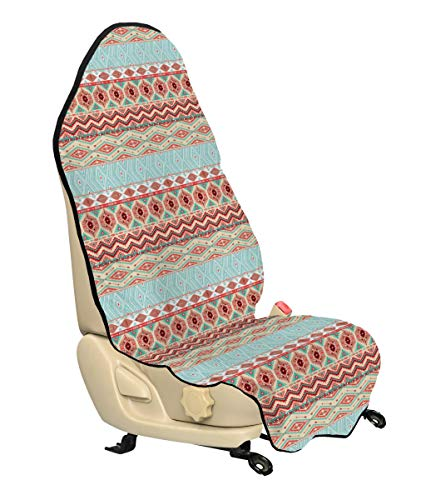(Lunarable Aztec Car Seat Cover, Ethnic Culture Inspirations Ornamental Native American Indigenous Chevron, Car Truck Seat Cover Protector Nonslip Backing Universal Fit, Coral Beige Turquoise)