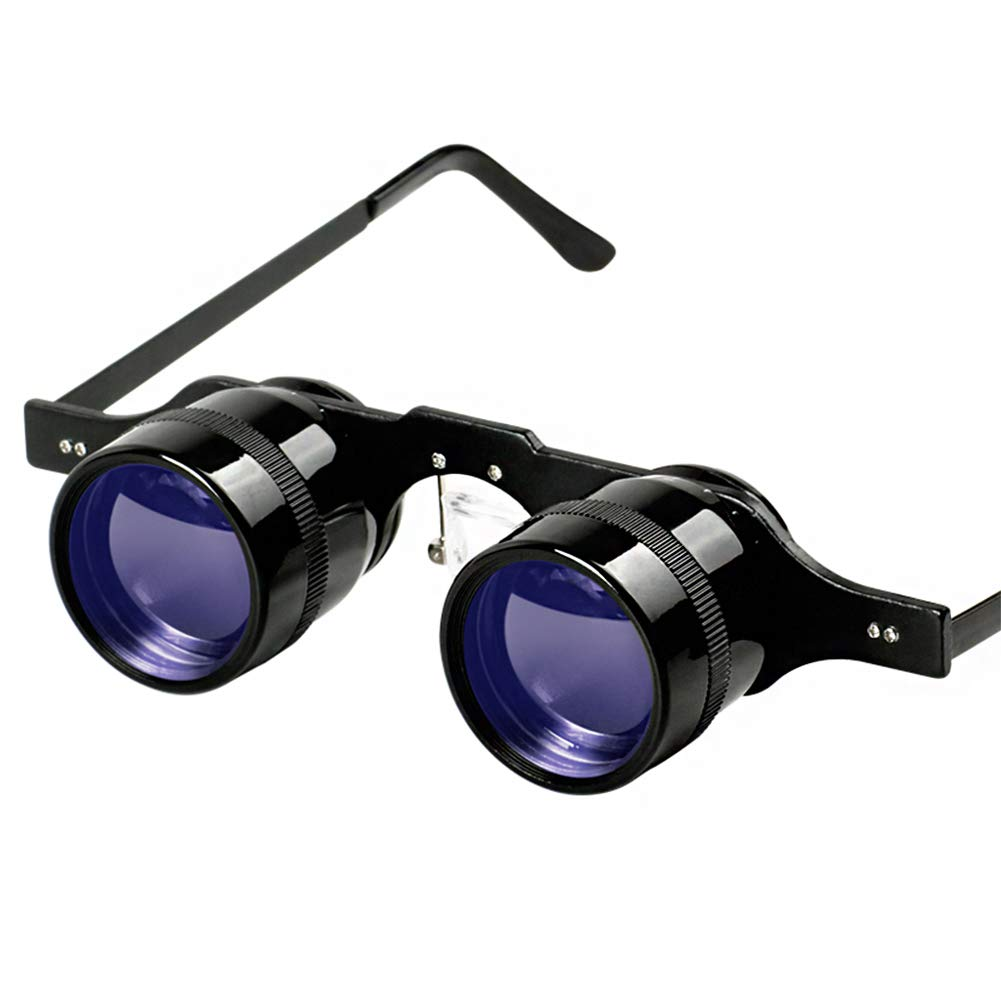 QZY 10 X Fishing Binocular Glasses,Professional Hands Free Magnification Sports,Concerts,Theater,Opera,TV Magnifiers Premium Glare-Free Lenses ,Blue