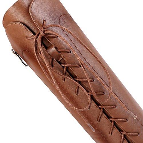 Pelle Col Gtyw Autunno Pizzo Brown I Tacco Alto Primo Europa E High Boots Ladies Stivali Donna Tacchi In Punta Da Strato A Inverno Uniti Con Heels Stati Scarpe Di RROwqar