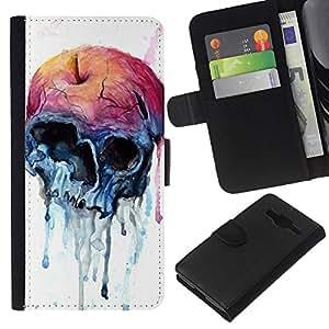 EJOY---La carpeta del tirón la caja de cuero de alta calidad de la PU Caso protector / Samsung Galaxy Core Prime / --Manzana Cráneo azul de la acuarela de la Salud