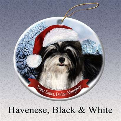 Holiday Pet Gifts Havanese (Blk/Wht) Santa Hat Dog Porcelain Christmas Ornament
