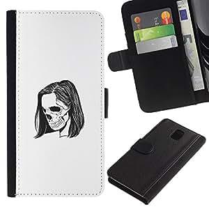 YiPhone /// Tirón de la caja Cartera de cuero con ranuras para tarjetas - Emo Esqueleto - Samsung Galaxy Note 3 III