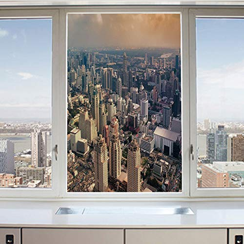 3D Decorative Privacy Window Films,Aerial View of Bangkok City Metropolis Big Town Foggy Air Asian Panorama Art,No-Glue Self Static Cling Glass film for Home Bedroom Bathroom Kitchen Office 17.5x36 In