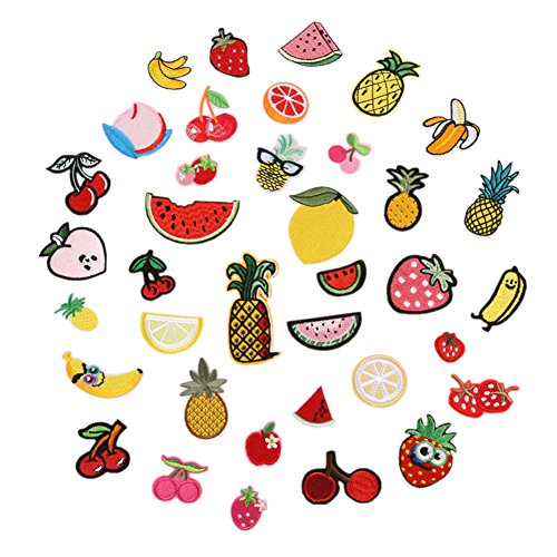 (Hwafan Mix 37PCS Various Cute Fruit Pineapple Decal Fabric Iron On Patches Embroidered Motif Badge DIY Decoration Applique for Jeans Clothes)