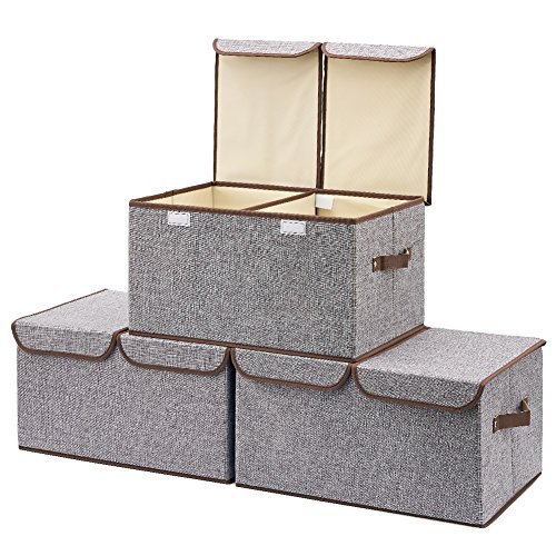 Large Storage Boxes [3-Pack] EZOWare Large Linen Fabric Foldable Storage Cubes Bin Box Containers with Lid and Handles - Gray For Home, Office, Nursery, Closet, Bedroom, Living Room (Storage Containers Box)