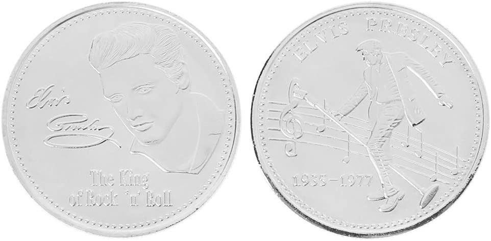 or Sunhoyu Elvis Presley Pi/èce comm/émorative 1935-1977 Le roi de Rock N Roll Art Souvenir Pi/èce Cadeau