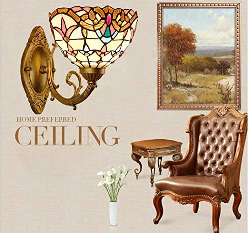 8 Zoll Stil Wandleuchte,Glasmalerei Wandleuchte Innen,mehrfarbige Wandleuchte Leuchte für Wohnzimmer Schlafzimmer,B20cm,H30cm