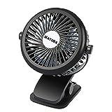 Clip On Fan, MAYOGA Desk Fan Mini USB Fan Portable Electric Cooling Fan Personal Table Fan USB/Battery Operated, 360°Adjustable Wind/3 Speed/Rechargeable for Baby Stroller/Home/Dorm/Office/Outdoor/Car