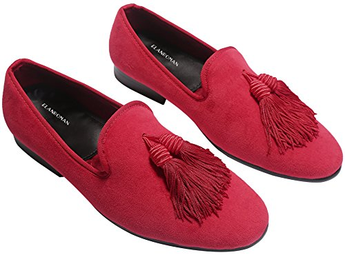 ELANROMAN Men's Penny Loafers With Tassel Handmade Wedding Shoes Slip-On Loafers Luxury Men Velvet Shoes Red buy online authentic 100% guaranteed sale online clearance 2015 new cheap sale footaction clearance the cheapest 8iLyNvTHd