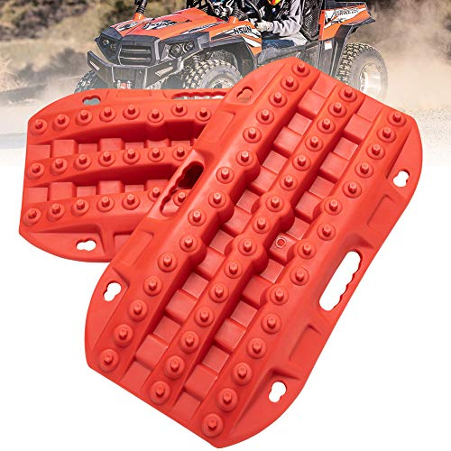 LITEWAY Recovery Traction Tracks - 2 Pcs Red Traction Mat for Sand Mud Snow Track Tire Ladder 4X4 - Traction Boards