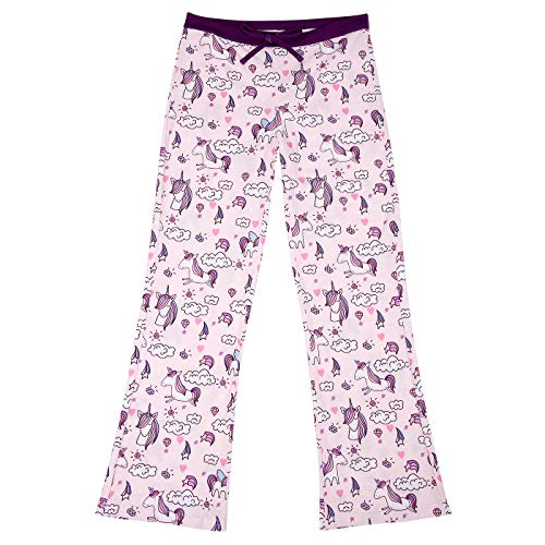 HDE Girl's Pajama Pants Soft Sleepwear Casual Loose Lounge Bottoms (Cute Unicorns, X-Small | 4/5)