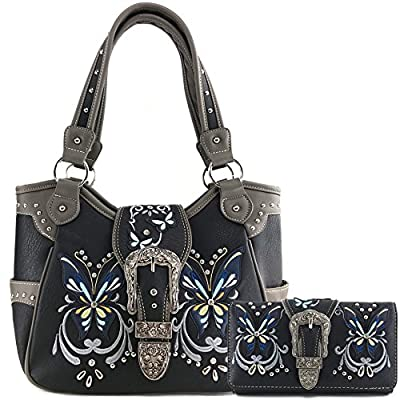 Justin West Floral Embroidery Butterfly Rhinestone Buckle Stud Conceal Carry Handbag Purse
