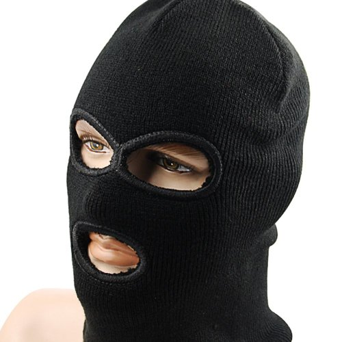 Black Acrylic Face Mask (UZZO™Black Face Mask Winter Outdoor Sports Double Layer Warmer Soft Comfortable Breathable Three Hole Balaclava Helmet Neck Warmer Skiing Snow Sport Full Facemask Hat With 1Free UZZO Logo Keyring)