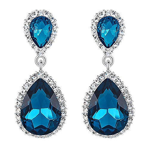 EVER FAITH Women's Austrian Crystal Wedding Tear Drop Dangle Earrings Turquoise Color Silver-Tone
