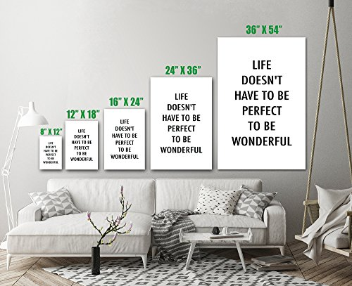 Life Doesn't Have To Be Perfect To Be Wonderful Inspirational Quote Wall Art Print Decor - Unframed Poster 24 x 36 - L