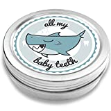 Doctors Baby Tooth Box Keepsake for Boys | Shark Henri | Vintage Tooth Fairy Souvenir Box | Silver-Colored | boy Baby Shower Gift (Blue) | Holder (Blue)