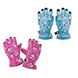 2 Pairs Kids Ski Gloves Waterproof Winter Snow Glove Age 2-4 for Outdoor Sports Mushroom Pattern