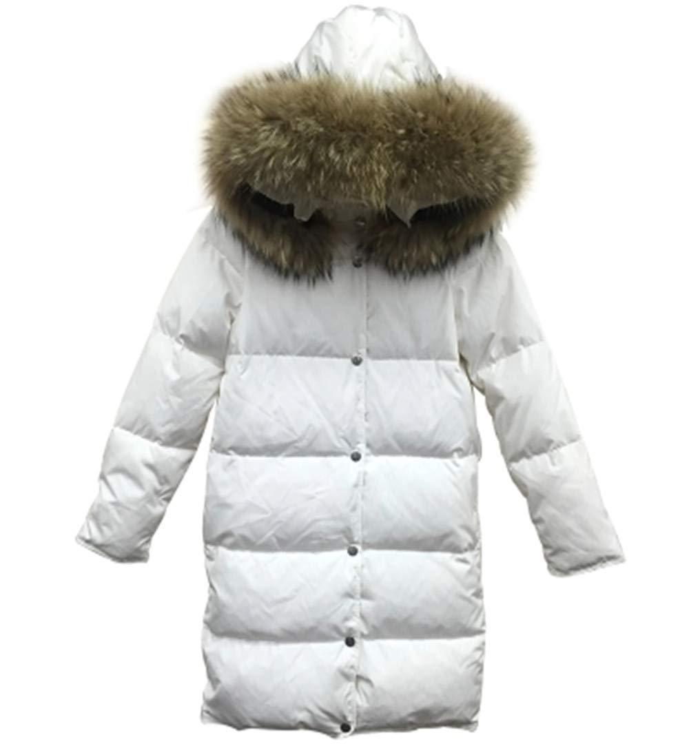 Dotoo Winter-weiße Daunenjacke Frauen Langen Abschnitt war dünne große Pelzkragen Dicke Polyester-Faser-Winterjacke