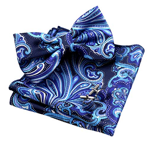 Alizeal Mens Multi-Color Floral Pre-Tied Bow Tie, Pocket Square and Cufflinks Set, Turquoise+Navy+Purple]()