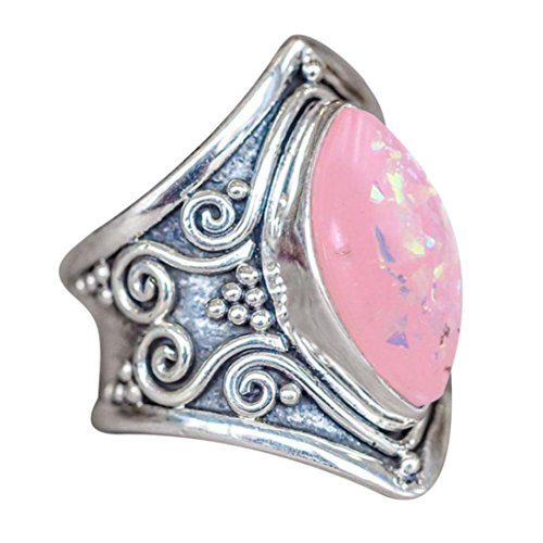 WensLTD_ 1PC Boho Jewelry Silver Natural Gemstone Marquise Moonstone Personalized Ring (#11, Silver-11)