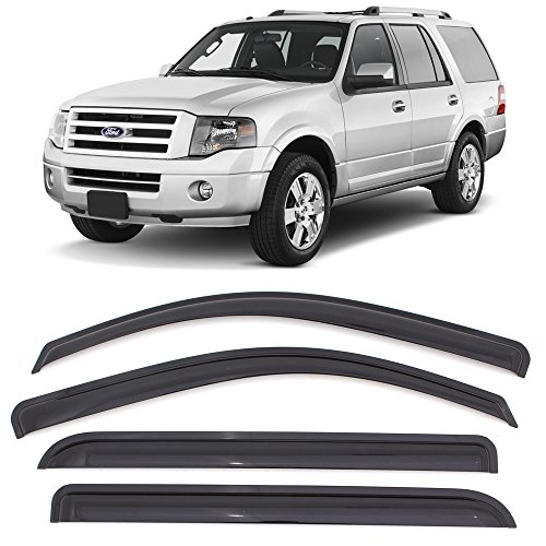 Expedition Ford Vent - Window Visor Fits 1997-2017 Ford Expedition 1998-2017 Lincoln Navigator | Acrylic Smoke Tinted 4PCS Sun Rain Shade Guard Wind Vent Air Deflector by IKON MOTORSPORTS | 1999 2000 2001 2002 2003 2004