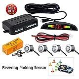 Rear Parking Sensor Kit Silver MASO LED Display Parking Assistants Double CPU Security Reversing Parking Radar Sensor Car Vehicle with 4 Sensors Alarm Buzzer Reminder Safe Driving