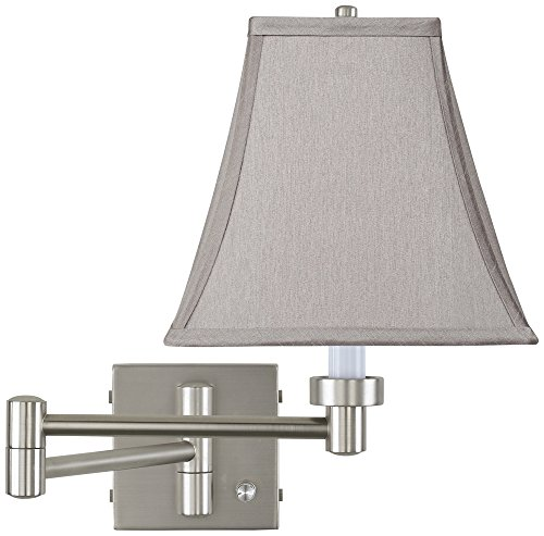 Brushed Steel Wall Swing - Pewter Gray Square Brushed Steel Swing Arm Wall Lamp