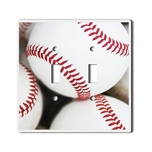 Light Switch Double Toggle Wall Plate Cover By InfoposUSA Baseballs - Baseball Light Switch Cover