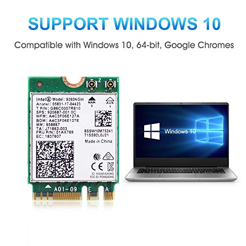 Authentic Intel Dual Band Wireless- AC 9260NGW NGFF WiFi Card M.2 NGFF 2.4/5GHz(160Mhz) Bluetooth 5.0 Wireless Internal WiFi Adapter 1.73Gbps for Laptop/Desktop PC Gaming, Bluetooth 5.0