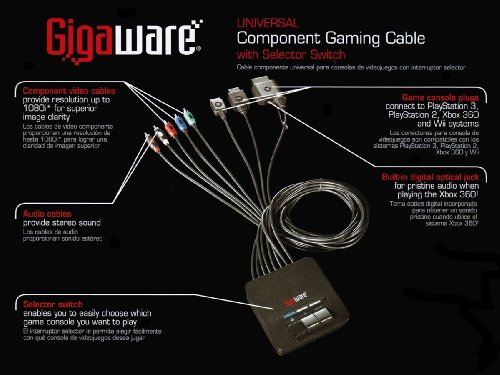 amazon com: gigaware universal gaming component cable with switch 26-1542:  video games