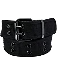Samtree Canvas Web Belts for Men Women,Double Grommet Hole Buckle Belt