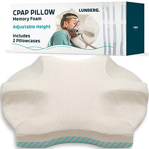 Lunderg CPAP Pillow for Side Sleepers – Includes 2 Pillowcases – Adjustable Memory Foam Pillow for Sleeping on Your Side…