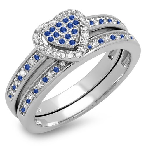 Sterling Silver Blue Sapphire & White Diamond Heart Shaped Bridal Ring Set (Size 9)