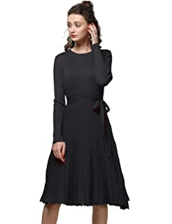 FINCATI Long Sweater Dress Spring Autumn Cashmere Belt Fitted Waist Big  Swing Midi Dresses 3a4cccdcb968