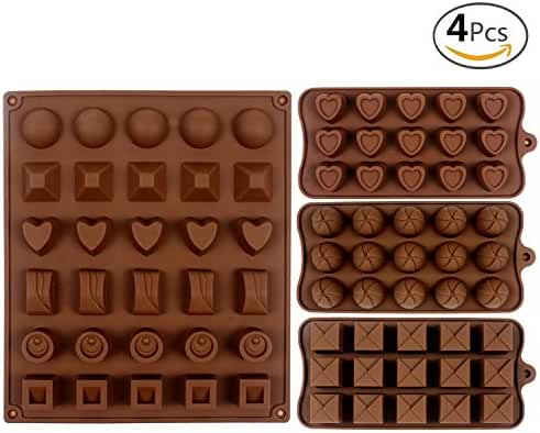 JUSLIN 4pcs Silicone Chocolate Jelly Candy Mold, Cake Baking Mold, 1 30-cavity Big Mold & 3 12-cavity Small Molds