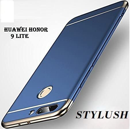 check out 774bc c1ac1 STYLUSH Honor 9 Lite Back Case Cover: Electroplated Luxury 3-in-1 Slim Fit  360* Protection Hybrid Hard Bumper (Blue)