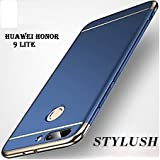 STYLUSH Honor 9 Lite Back Case Cover: Electroplated Luxury 3-in-1 Slim Fit 360* Protection Hybrid Hard Bumper (Blue)