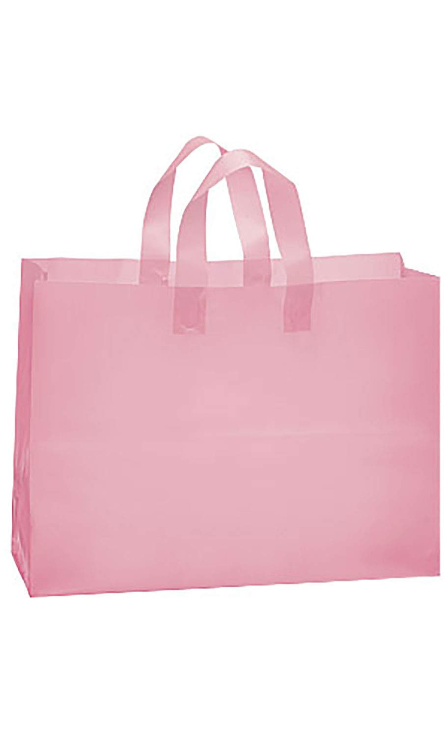 SSWBasics Large Pink Frosted Plastic Shopping Bags - 16'' x 6'' x 12'' - Case of 100