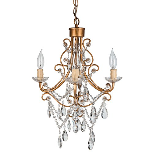 Madeleine Vintage Gold Crystal Chandelier, Mini Plug-In Glass Pendant 4 Light Wrought Iron Swag Ceiling Lighting Fixture Lamp (Vintage Crystal Gold)