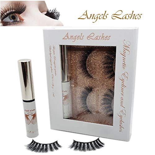Natural Lash Kit - Angels Lashes Magnetic Eyeliner and Eyelashes Kit 2 Style 3D Lashes Greater Volume Longer Natural Look Reusable Lash Waterproof No Glue Quick to Apply Beautiful Curled 3D Eyelash Instantly